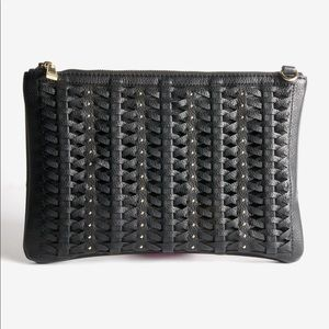 Crossbody studded black clutch with gold strap